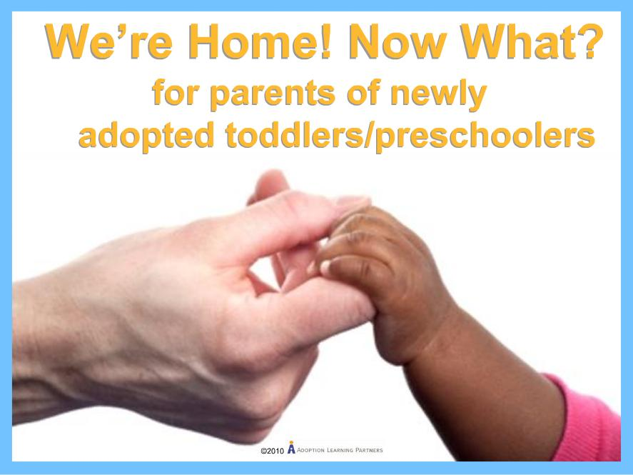 We're Home! Now What? For Parents of Newly Adopted Toddlers/Preschoolers